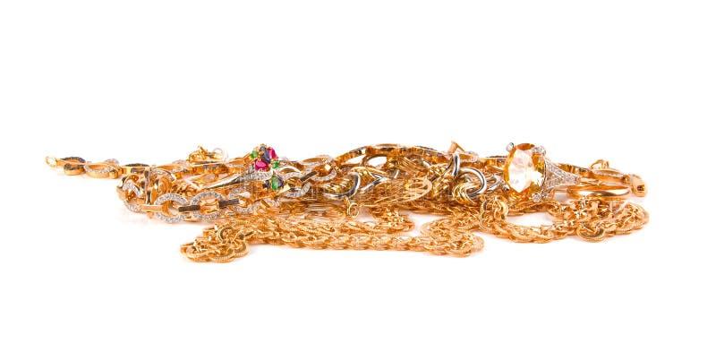 Stapel der Goldschmucksachen stockbilder