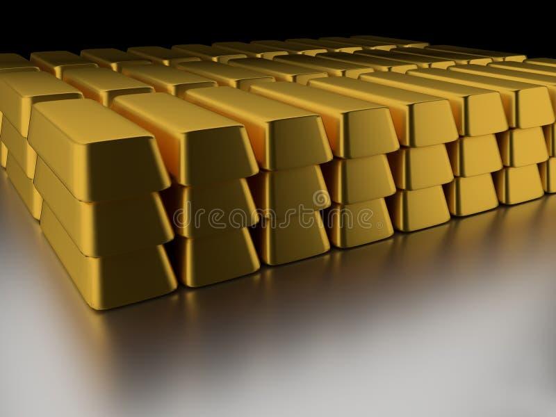 Stapel der Goldstäbe stock abbildung