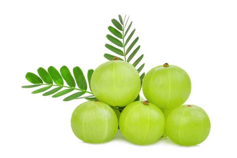 Stapel der indischen Stachelbeerfrucht mit den Grünblättern lokalisiert stockfotografie