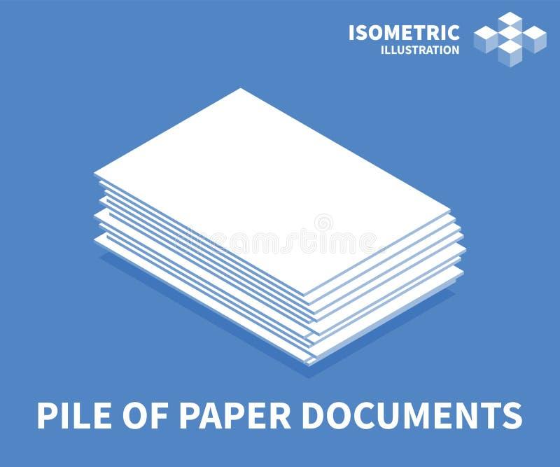 Stapel der Papierdokumentenikone Isometrische Schablone für Webdesign in der flachen Art 3D Auch im corel abgehobenen Betrag stock abbildung