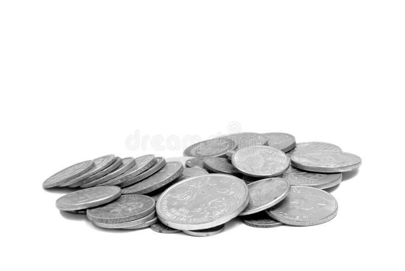 Stapel der Silbermünzen stockbild