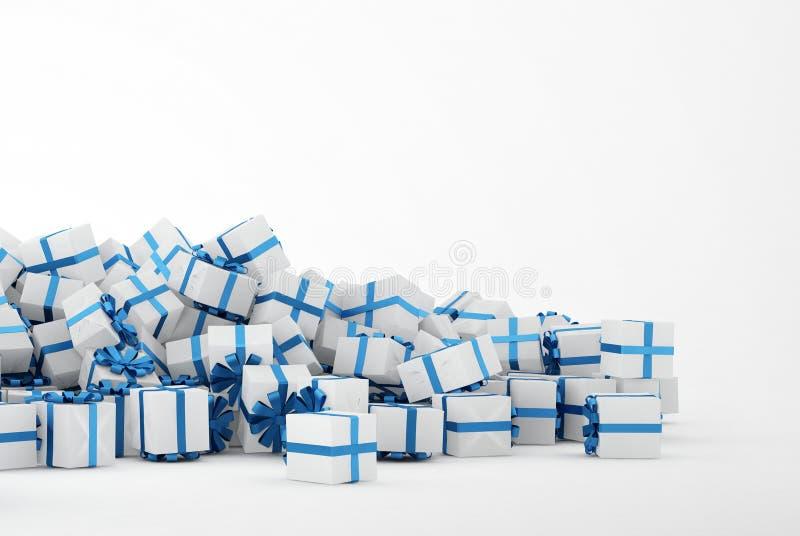 Stapel der Weihnachtsgeschenke auf weißem Hintergrund vektor abbildung
