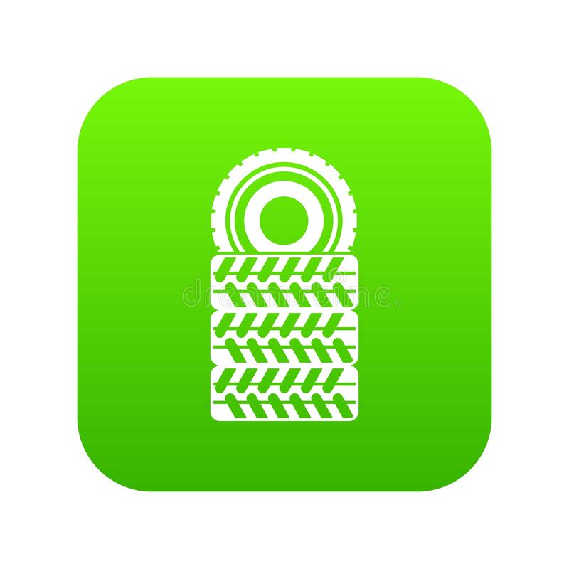 Stapel des digitalen Grüns der Reifenikone lizenzfreie abbildung