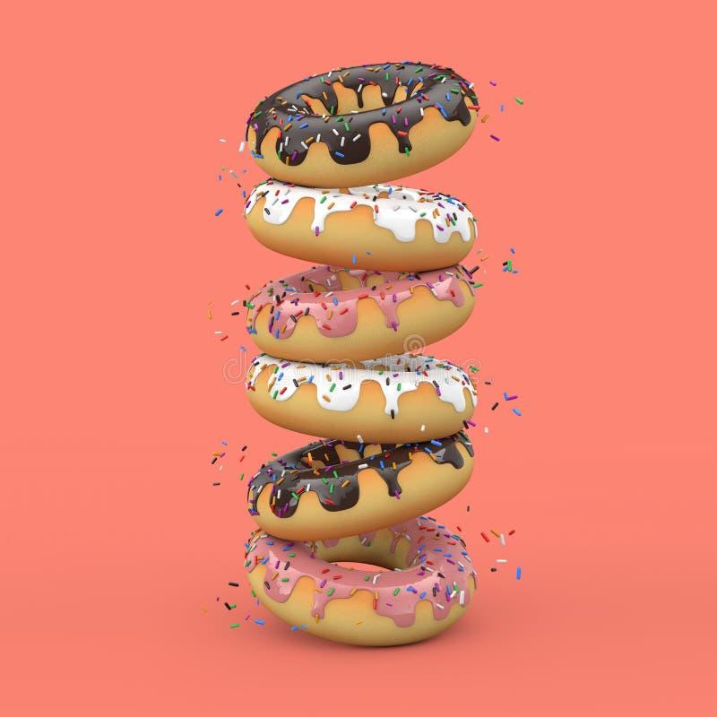 Stapel des großen Erdbeerrosas und des Schokoladen-glasig-glänzenden Donuts mit Farbe besprüht Wiedergabe 3d vektor abbildung