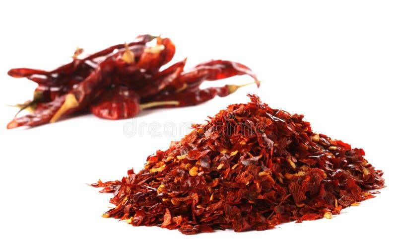 Stapel des heißen roten Paprika-Paprikapfeffers stockfotos