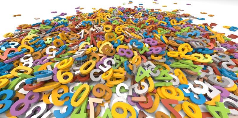 Stapel des Hintergrundes der gelegentlichen Zahlen 3D lizenzfreie abbildung