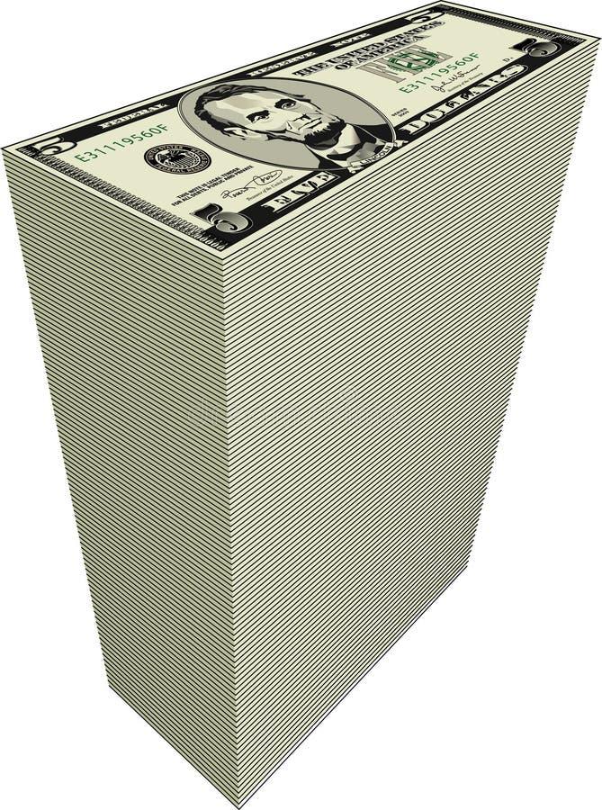 Stapel dollarrekeningen stock illustratie