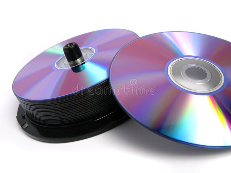 Stapel DVDs und Cd stockbild