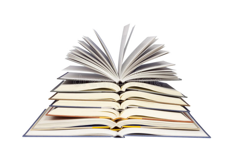 Stapel geöffnete Bücher stockbilder