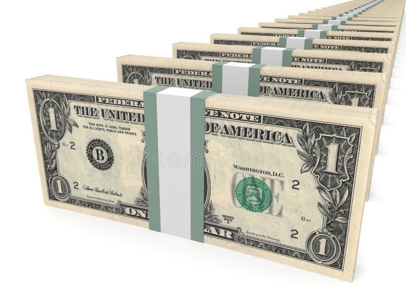 Stapel Geld Ein Dollar lizenzfreie abbildung