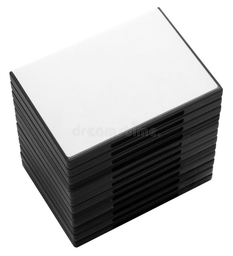 Stapel gevallen van DVD of CD royalty-vrije stock foto