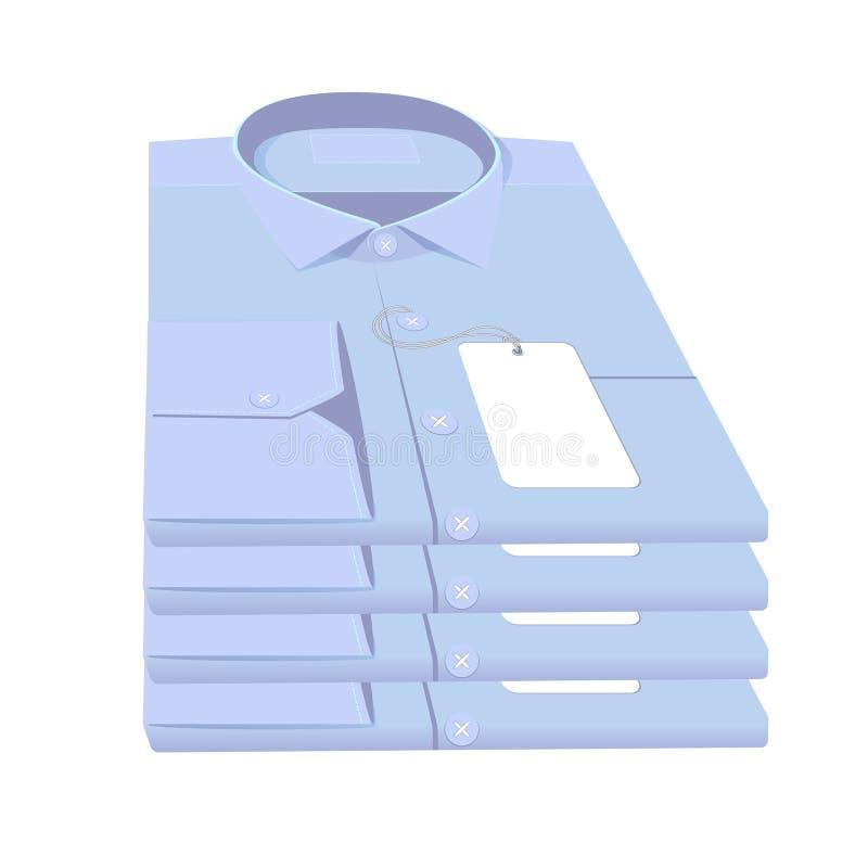 Stapel gevouwen overhemden die op witte achtergrond worden geïsoleerd royalty-vrije illustratie