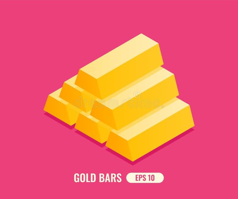 Stapel gl?nzende Goldbarren in der flachen isometrischen Art 3D Auch im corel abgehobenen Betrag vektor abbildung