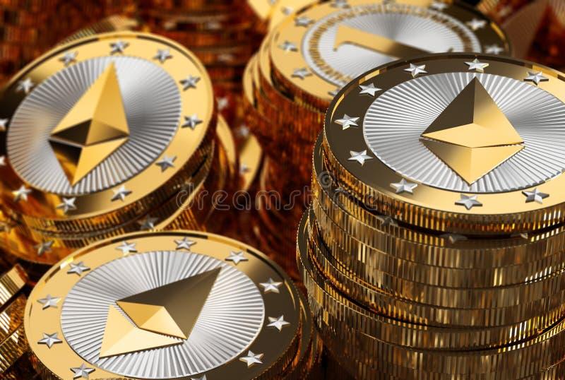 Stapel glänzender goldener Ethereum-Münzen lizenzfreie stockfotos