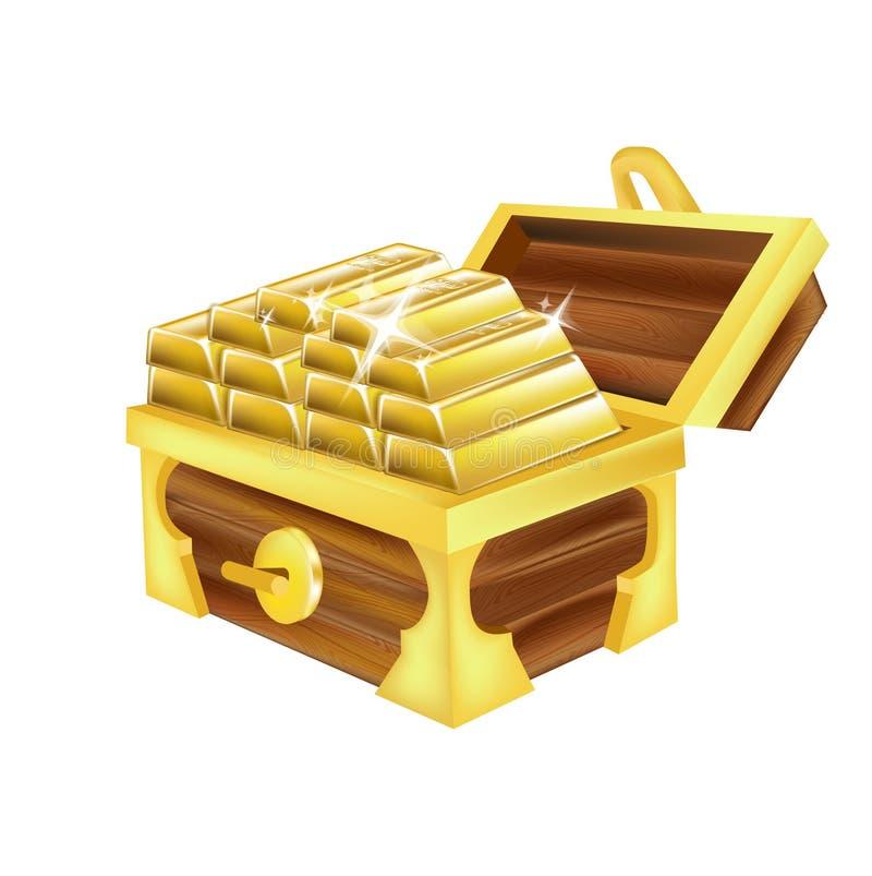Stapel goldene Stangen lokalisiert auf Weiß lizenzfreie abbildung