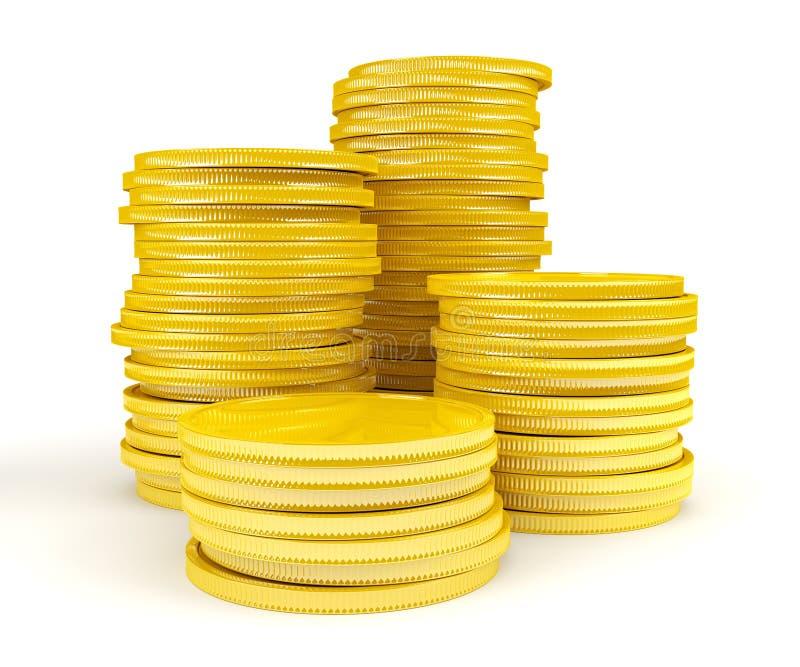 Stapel Goldmünzen stock abbildung
