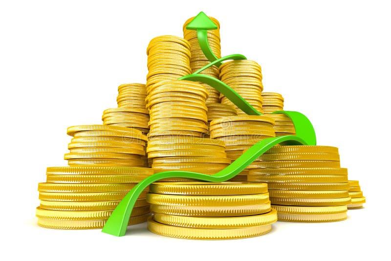 Stapel Goldmünzen mit Pfeil vektor abbildung