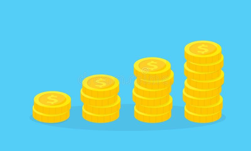 Stapel gouden muntstukken Financieel de groeiconcept Besparing, schenking, die betalend illustratie investeren royalty-vrije illustratie
