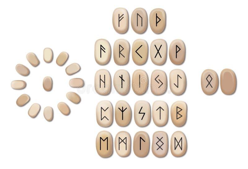 Stapel hölzerne Runen lokalisiert auf weißem Hintergrund Runen werden von den Holzkl?tzen geschnitten Magische Symbole für geheim lizenzfreie abbildung