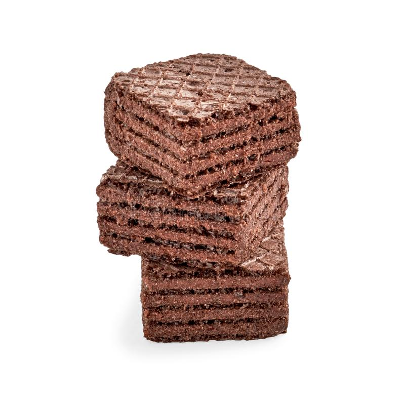 Stapel het wafeltjekoekjes van de chocolade vierkante brownie royalty-vrije stock afbeelding