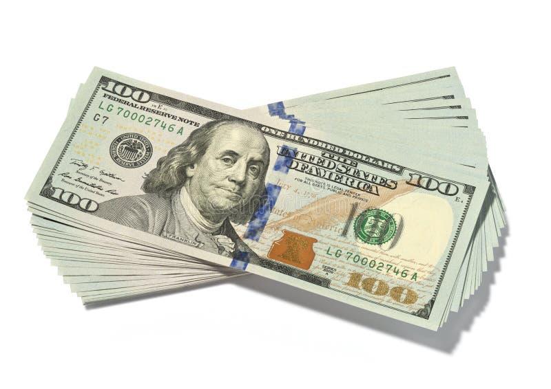 Stapel Honderd Geïsoleerde Dollarsrekeningen stock afbeeldingen