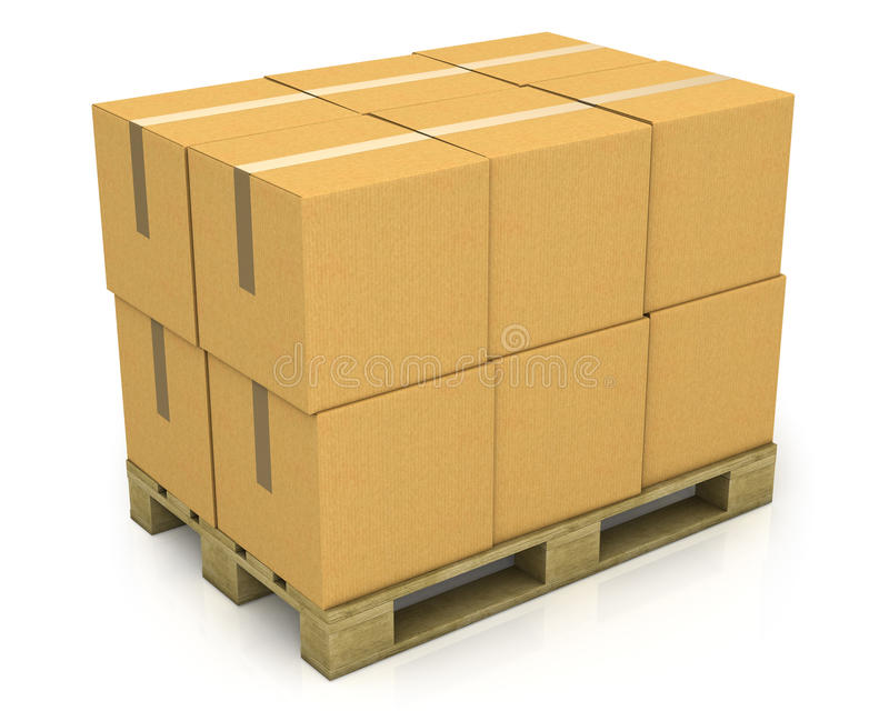 Stapel Kartonkästen auf einer Ladeplatte stockfotos