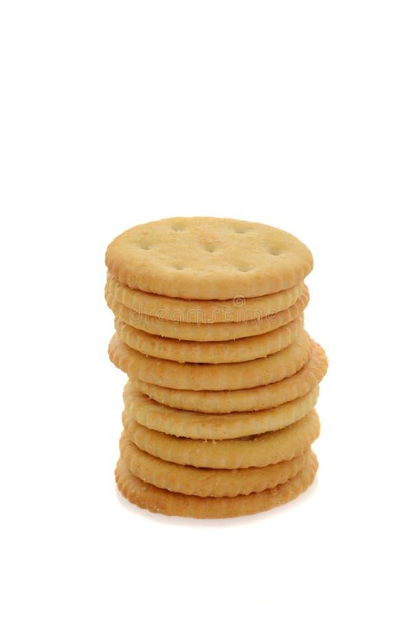 Stapel kleine ronde crackers stock fotografie
