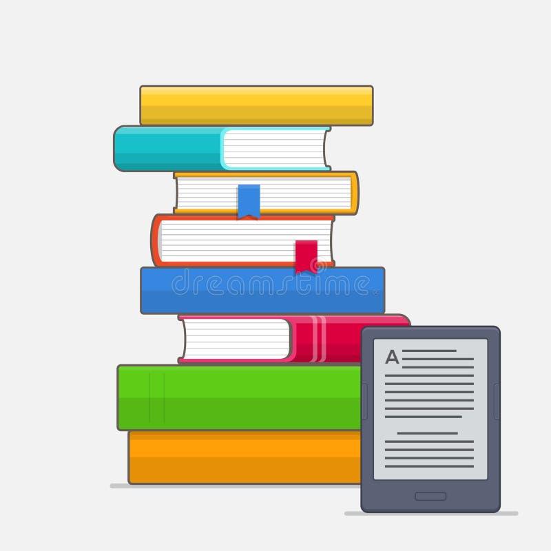 Stapel kleurrijke boeken met referentie en EBook-lezer stock illustratie
