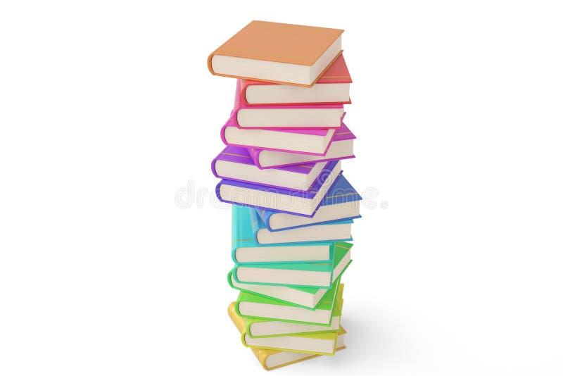 Stapel kleurrijke boeken op witte achtergrond 3D Illustratie vector illustratie