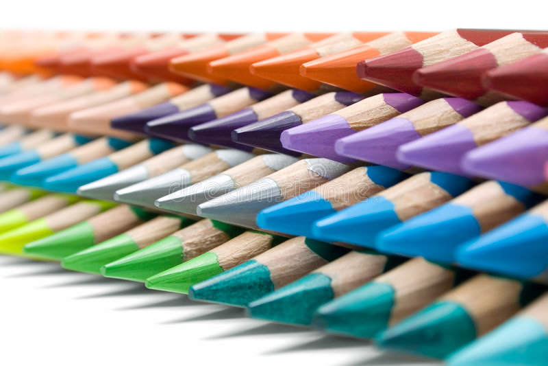 Stapel Kleurrijke Kleurpotloden royalty-vrije stock afbeelding