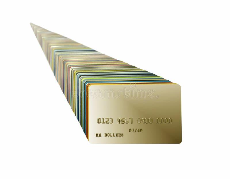 Stapel krediet/debetkaarten op witte achtergrond worden geïsoleerd die royalty-vrije stock afbeeldingen