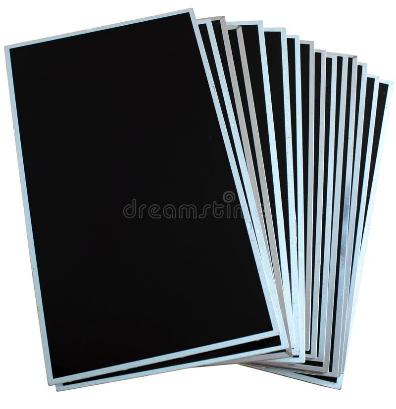 Stapel lcd en tft panelen die op witte achtergrond wordt geïsoleerd stock foto