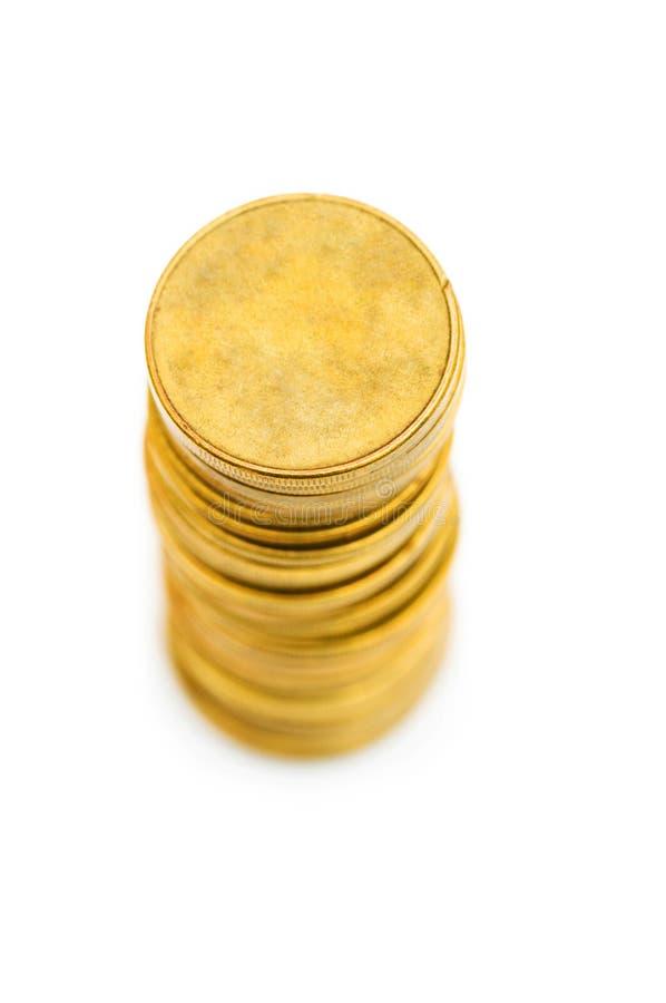 Stapel Münzen getrennt stockbild