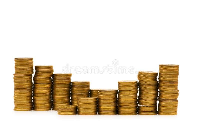 Stapel Münzen getrennt stockfotografie