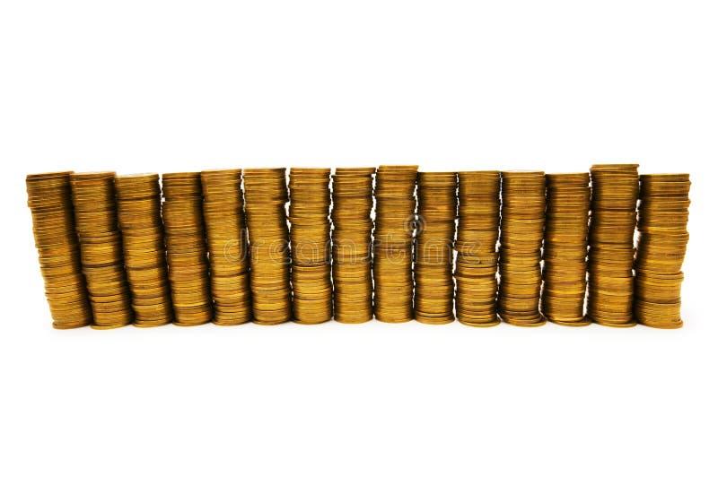 Stapel Münzen getrennt stockfotos