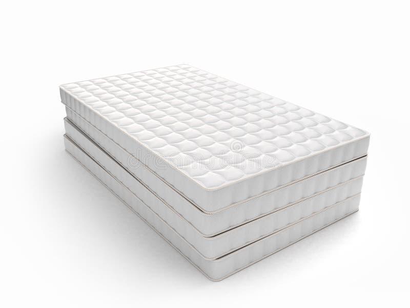 Stapel matrassen op witte achtergrond worden geïsoleerd die stock illustratie