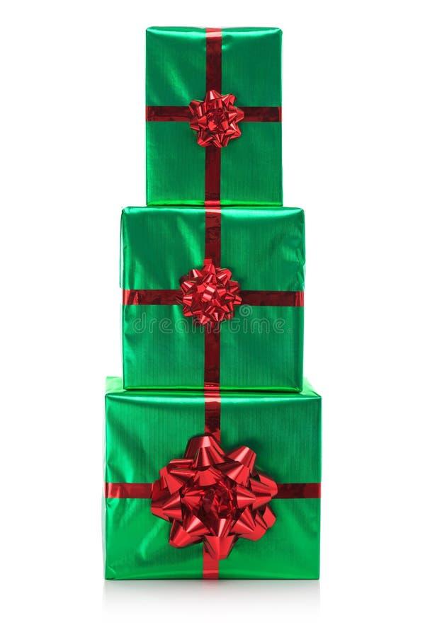 Stapel mit drei Geschenken   lizenzfreie stockbilder