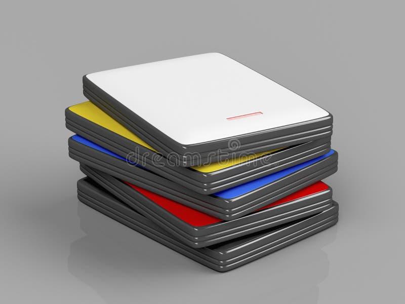 Stapel mit tragbaren Festplattenlaufwerken vektor abbildung