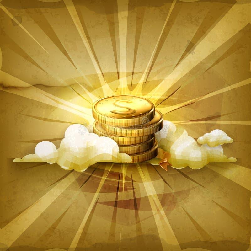 Stapel muntstukken, vectorachtergrond royalty-vrije illustratie