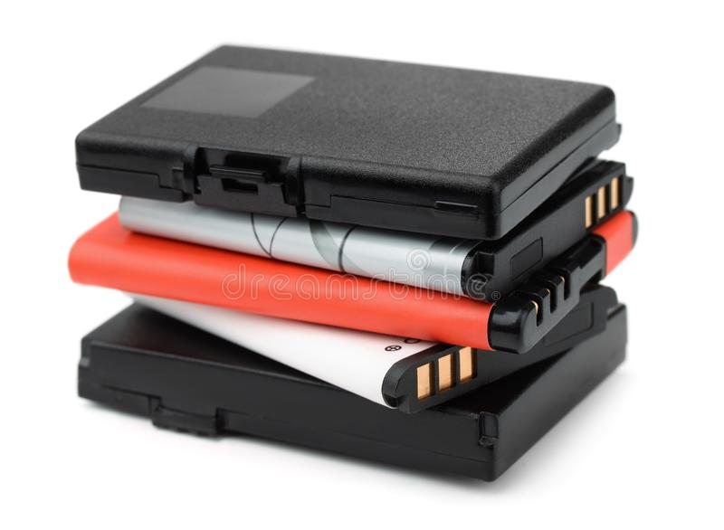Stapel navulbare lithium-ionenbatterijen royalty-vrije stock fotografie