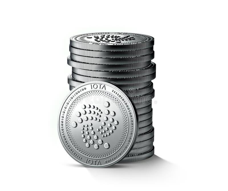 Stapel oder Stapel silberne Iota-Münzen lokalisiert auf weißem Hintergrund Eine Münze wird in Richtung zur Kamera gedreht vektor abbildung