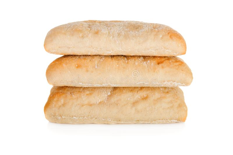 Stapel panini drei lokalisiert auf weißem Hintergrund stockfotos