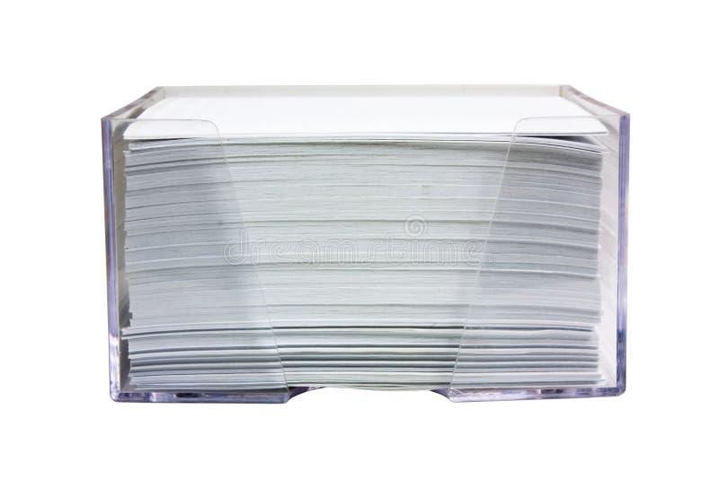 Stapel Papier in einem Kasten stockbilder