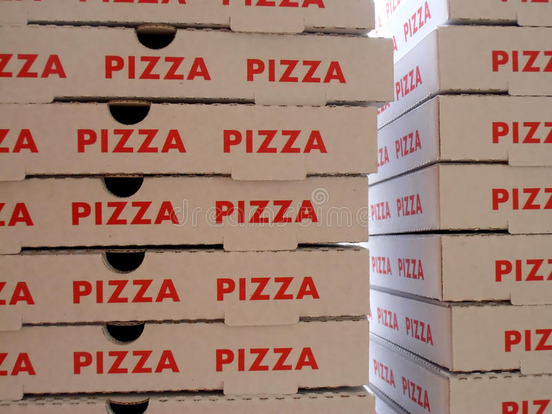 Stapel pizzadozen royalty-vrije stock foto's