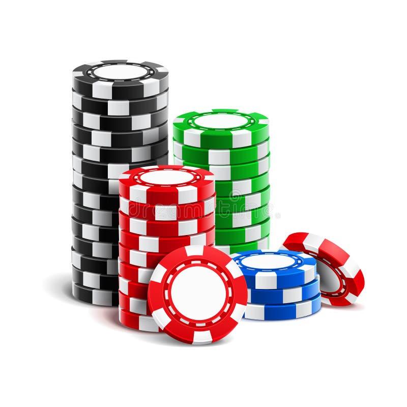 Stapel realistische lege spaanders voor casino stock illustratie