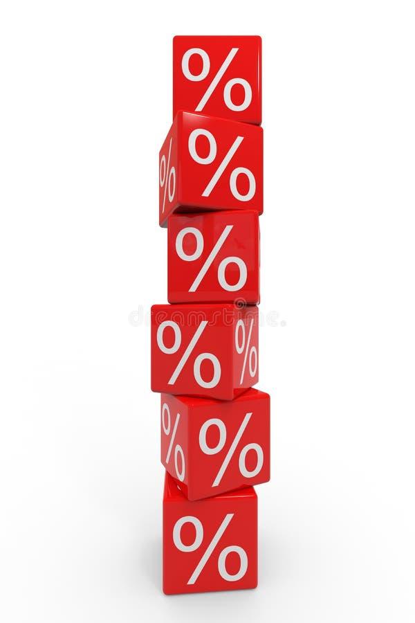 Stapel rote Würfel mit Prozenten vektor abbildung