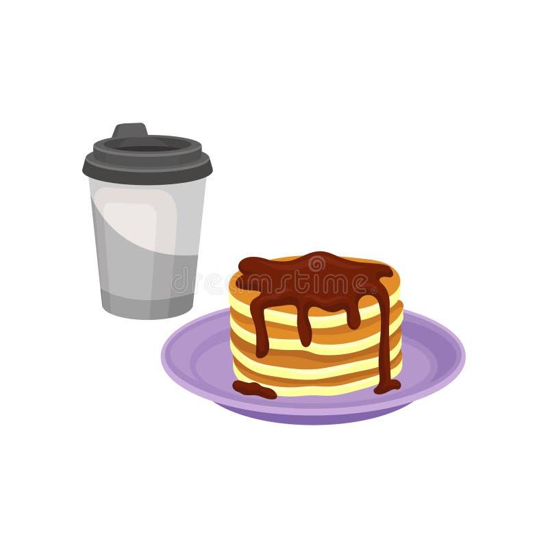 Stapel süße Pfannkuchen mit Schokoladensirup, frischer Kaffee in der Plastikschale Flacher Vektorentwurf des geschmackvollen Früh vektor abbildung