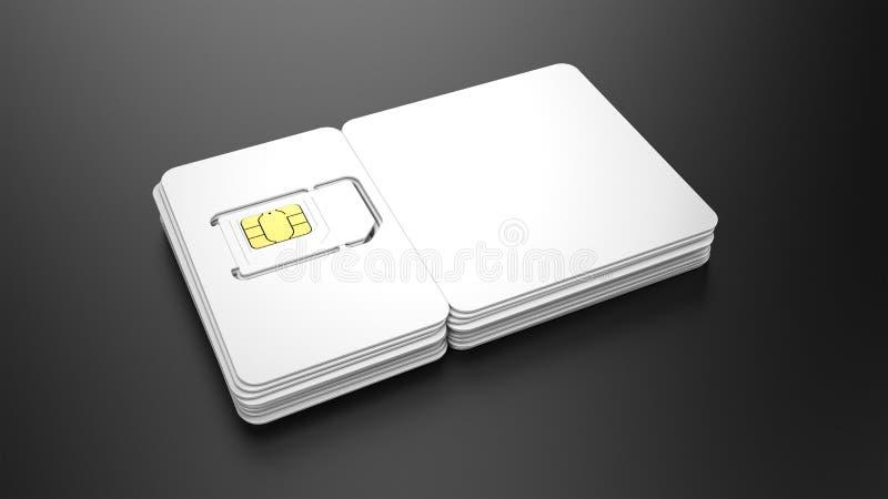 Stapel SIM-Karten mit leeren Plastikkarten für Ihr Design lizenzfreie abbildung