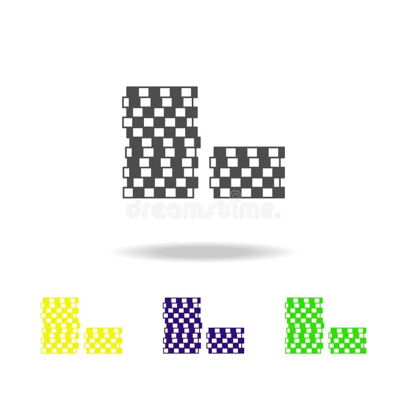 stapel spaanders gekleurde pictogrammen Element van casino gekleurde pictogrammen Kan voor Web, embleem, mobiele toepassing, UI,  stock illustratie
