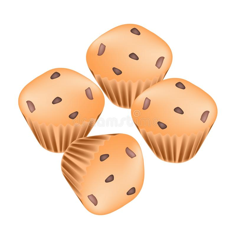 Stapel thailändische Muffins mit Rosinen auf weißem Hintergrund vektor abbildung
